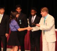 Audrey accepting award