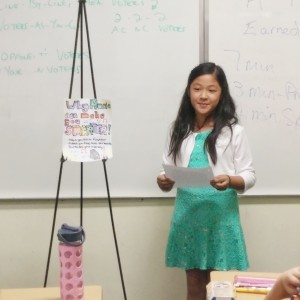 Celine Tsai giving her Expository Speech