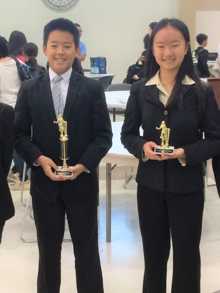 Justin Hong and Emma Chen won Congress Champion and third place.